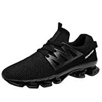 Gomnear Mens Running Shoes Breathable Mesh Lace-up Springblade Casual Fashion Athletic Walking Big Size Sneakers,Black-47