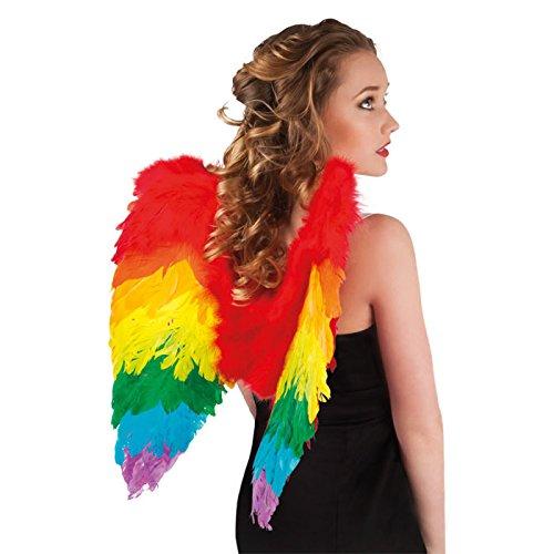PARTY DISCOUNT NEU Flügel Engel mit Federn, 50x50cm, Regenbogen