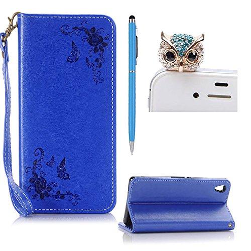SKYXD Leder Hülle für Sony Xperia Z5 Rosen Blumen und Schmetterlings Muster,PU Folio Klappbar SchutzHülle [Brieftasche Kartenfach / Magnet / Standfunktion / Trageschlaufe] KlappHülle für mit [Eule Handyanhänger + Eingabestift] 3 in 1 Zubehör Set Handy Tasche Etui for Sony Xperia Z5 Bookstyle Flip Case Leather Cover With [Stylus and Dust Plug]- Blau