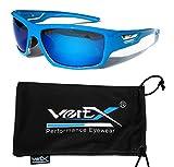 VertX polarizado gafas de sol de neón deporte ciclismo correr al aire libre – Neon azul marco – Lente azul