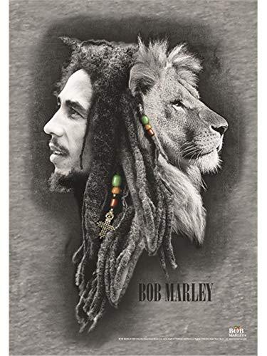 Heart Rock - Bandera Original de Tela con diseño de Profiles de Bob Marley, 110x 75x 0,1cm