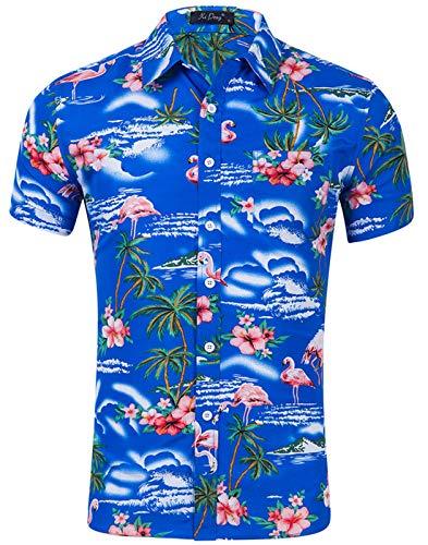 Idgreatim Herren Hawaiihemd 80er Jahre 90er Jahre Jazz Cup Kurzarmhemd mit Knopfleiste Slim Fit Oktoberfest Hemd Herren