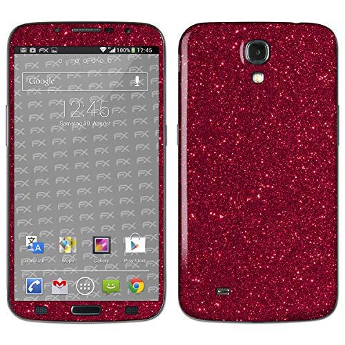 atFolix Skin kompatibel mit Samsung Galaxy Mega 6.3 GT-i9205, Designfolie Sticker (FX-Glitter-Ruby-Red), Reflektierende Glitzerfolie