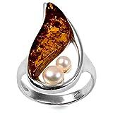 Bernstein Sterling Silber Perle groß Ring