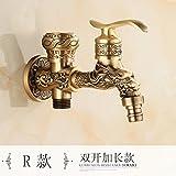 MangeooLe cuivre antique 4 seul allongé sur machine à laver,108 robinet double but lave-linge