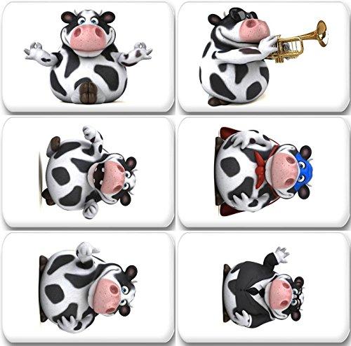 Merchandise for Fans 3D Holstein Kuh in verschiedenen Verkleidungen - 6 rechteckige Kühlschrankmagnete 7X 4,5 cm - 02 für Memoboard Pinnwand Magnettafel Whiteboard - Kuh-magnet