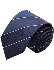 Simple et chic pour homme Business Liens Cravate formelle avec boîte cadeau, à rayures bleu marine/blanc