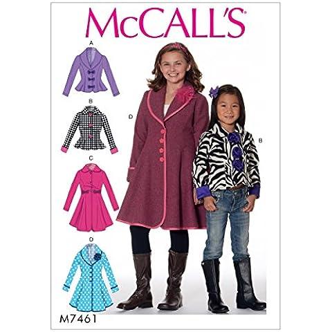 McCall' s Patterns Mccall' s Pattern 7461CCE, giacche e cappotti Bambini/ragazza, taglie 3–6, Multi Colore
