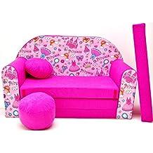 WELOX h35 KindersofaBettfunktion3in1-Kindersessel,Ausziehbett,rosaPrinzessin, Eierschalenfarbe