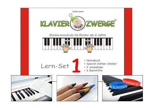 Klavier lernen - Klavierzwerge Lern Set 1 beinhaltet: Notenbuch 1 inkl. Zubehör | Klavierspielen mit Freude erlernen | Klavierschule mit Notenheft für Kinder ab 4 Jahren sowie Anfänger jeden Alters