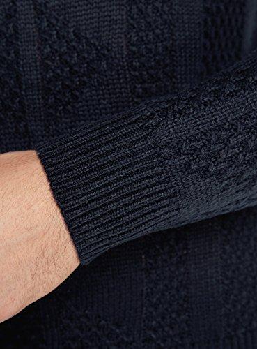 oodji Ultra Herren Pullover mit Reißverschluss am Halsausschnitt Blau (7900N)