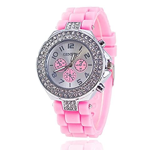 New Fashion 12 colors Ladies brand GENEVA Watch Classic Gel Crystal Silicone Jelly watch (Pink)