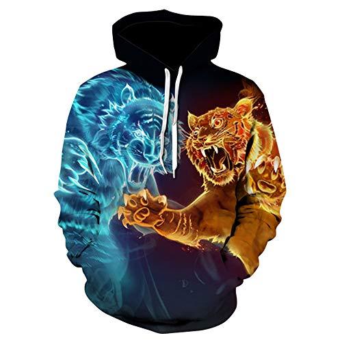Boutique sale New Tiger Lion Head 3D-bedruckter Kapuzenpullover Kapuzenpullover Herrenpullover 3D Blau Rot Zweifarbiger Tiger-Kapuzenpullover Herrenpullover