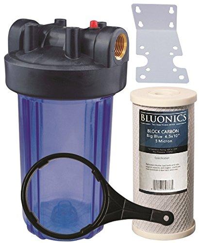 bluonics 25,4cm Big Blue ganze Haus Wasser Filter 5Micron Carbon Block für Chlor, Pestizide, herbizide, Insektizide, schlechten Geschmack und Geruch mit Klar Blau Transparent Gehäuse