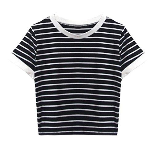 LANSKIRT Damen Gestreift Crop Top Kurzarm Streifen Shirt Oberteile Kurzer (S, Schwarz -A)