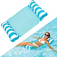 Floating Bed Inflatable, Swimming Pool Float Water Hammock Raft Beach Lounge Chair 4-in-1, Blue