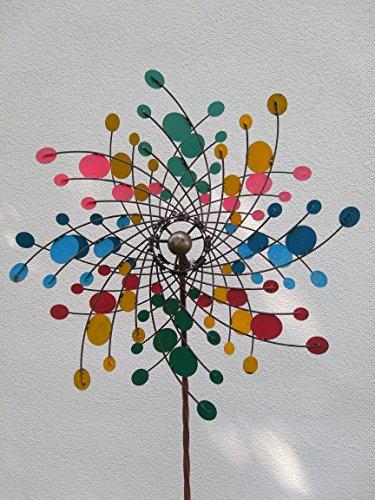 ecoSoul Windspinner Windrad Windmühle Rost Windspiel Metall auf Stab Ø 60cm