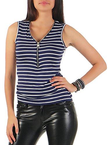malito-top-rajas-con-la-cremalla-t-shirt-8225-mujer-talla-unica-azul-oscuro