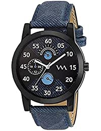 Watch Me Black Dial Blue Leather Strap Watch For Men And Boys AWC-007