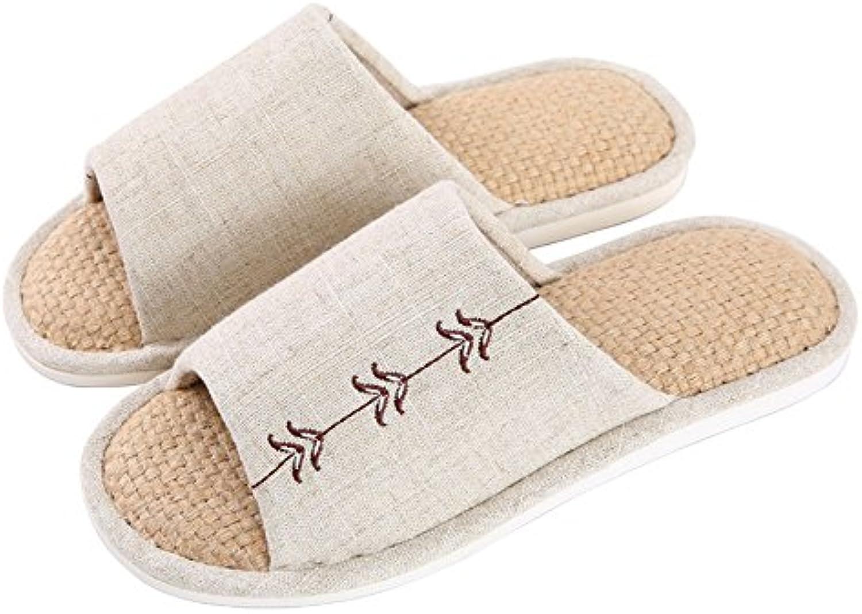 ZHIRONG Zapatillas de algodón de lino para mujer Pareja de casa Zapatillas antideslizante de interior Silent (...