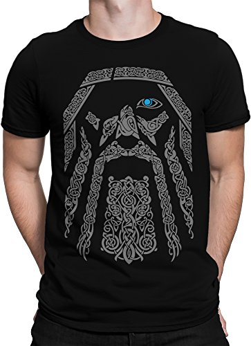 vanVerden Herren T-Shirt Odin Wikinger Wodan Valhalla Rising Walhalla Vikings, Größe:5XL, Farbe:Schwarz/Grau