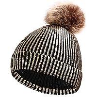 BLACK ELL Sombrero de Dama de otoño e Invierno, Gorro de algodón Brillante de Punto para Hombres, Unisex, cálido y cómodo, 5