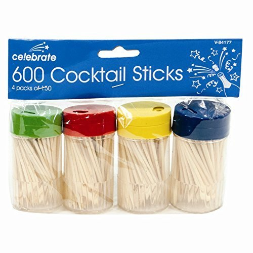 Invero® Partypicker, Cocktailpicker, Zahnstocher, Früchtepicker, Kirschen-Käse-Spieße, aus Holz, 600Stück.