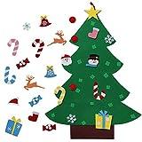 Include:   1pcs feltro albero di Natale + 26pcs ornamenti;  Ornamenti comprende fiocchi di neve, Babbo Natale, cappello di Natale, calze di Natale, pupazzo di neve, caramelle e campane ecc 3 pezzi di fiocco di neve 1 pezzo di Babbo Natale Re...