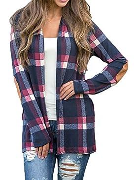 Donna Camicia a quadri Cardigan Manica lunga - Highdas Camicetta controllata Maglie lunghe Camicie a strisce Camicette...