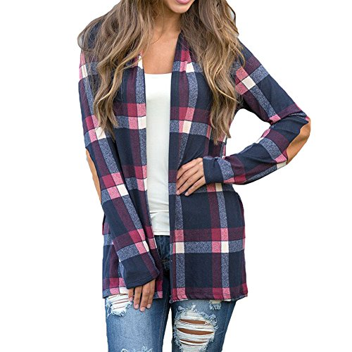 Damen Kariertes Hemd Langarmshirt Cardigan - Highdas Karierte Bluse Lang Hemden Oberteil Tops Plaid Shirts Oversize Blusen Cardigan Grau Blau S M L XL (Bluse Baumwolle Button-up)