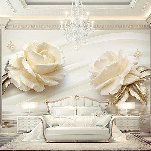 Weaeo Custom Photo Wallpaper 3D Champagner Rose Wasser Welle Reflexion Wandbild Hochzeit Zimmer Schlafzimmer Wohnzimmer Non-Woven Drucken Wallpaper 200 X 140 Cm (Himmel Auf Boden)