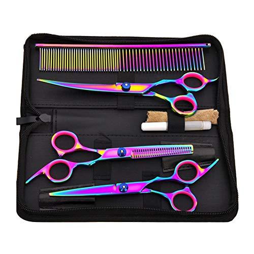 Inciple Corte de cabello profesional, Corte de cabello para mascotas 7 pulgadas Tijeras para mascotas de colores Juego de tijeras Conjunto Buena nitidez Kit de herramientas de corte de cabello