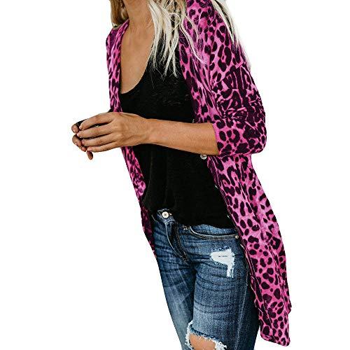 iHENGH Damen Herbst Winter Bequem Lässig Mode Frauen Langarm Leopard Print Mode Mantel Blusen T Shirt Tank Tops(L,Pink)