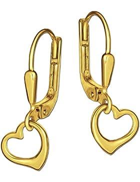 CLEVER SCHMUCK Goldene kleine Ohrhänger 20 mm kleines frei schwingendes Herz 7 mm innen offen glänzend 333 GOLD...