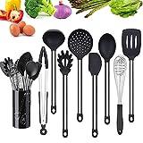Aofanhome Kochutensilien und Geschirrhalter für Antihaft-Kochgeschirr - Aus Silikon und Edelstahl, Küchenutensilien 9-tlg