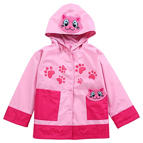 Baotung Kids Girls Waterproof Rain Jacket Rainsuit Raincoat with Hood Cartoon Pattern