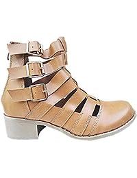 4282c4373e7e3 Bottine ouverte ajourée talon motard femme chaussures zip boots cut out  PM-139 CAMEL