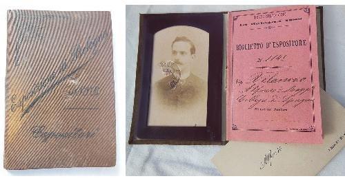 CARNET, BIGLIETTO D'ESPOSITORE. ESPOSIZIONE DI BOLOGNA 1888.