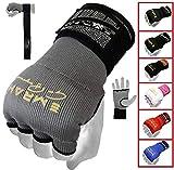EMRAH Pro Training Gel de Boxe Gants Hand Wraps intérieurs Enveloppements à la Main MMA Fist Protector Bandages Mitts-X Boxing Wraps (Gris, Moyen)