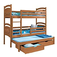 Triple Bunk Bed JACOB 3 Modern Trundle High Sleeper Drawers Ladder 3 Children Pine Wood (Left Hand Side, UK Single Standard Siz)