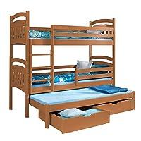 Triple Bunk Bed JACOB 3 Modern Trundle High Sleeper Drawers Ladder 3 Children Pine Wood (Left Hand Side, UK Single Standard Siz)