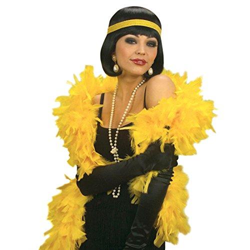 Amakando Federboa gelb Federschal lang 1,80 m Charleston Feder Boa 20er Jahre Fasching Federstola Mafia Flapper Gatsby Rio Karneval Schal Samba Party Damenschal Travestie Drag Queen Stola