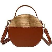 Moonuy 1PC Schultertasche Vintage Frauen tonnenförmige Crossbody Taschen Einfache Weave Runde Tote Handtaschen Soft Griff Schultertasche Solid Bag