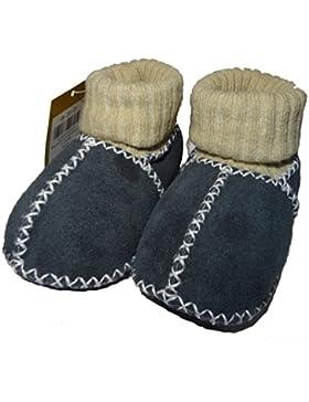 Baby-los zapatos de piel de cordero con puños de punto, Azul-colour gris