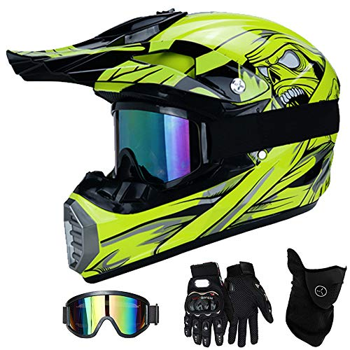 QYTK® Casco Motocross Niño Amarillo, MT-56 Full Face Motorcycle Cross Helmet Casco...
