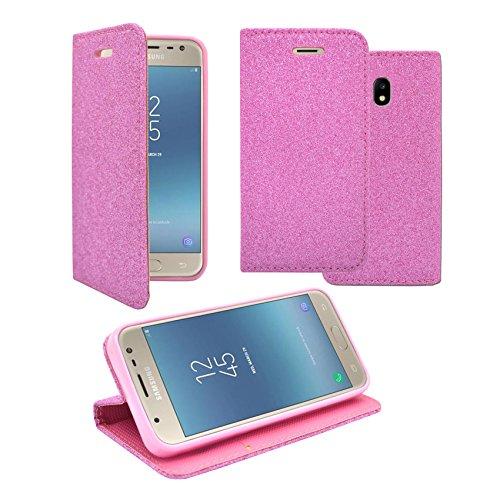 Samsung Galaxy J52017Hülle Glitzer Light Pink Design PU Leder Book Flip Case Cover