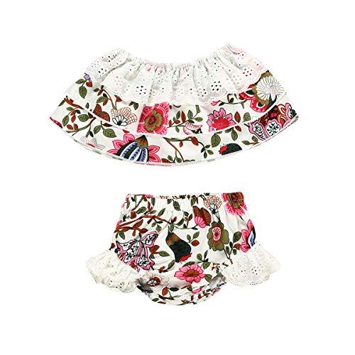 Puseky 2pcs Baby Mädchen Lace Floral Ruffle aus Schulter Tube Top & Shorts Outfits Set (Color : Floral, Size : 18M-24M) -