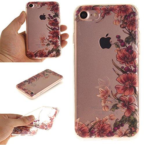 """Apple iPhone 7 4.7"""" hülle,MCHSHOP Ultra Slim Skin Gel TPU hülle weiche Silicone Silikon Schutzhülle Case für Apple iPhone 7 4.7"""" - 1 Kostenlose Stylus (Jahrgang Blumenrebe) Jahrgang Blumenrebe"""