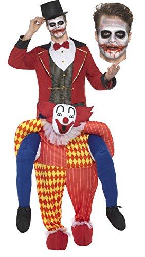 Herrenkostüm Horror Clown mit Grusel Schminke und Zylinder Herrenhut - Herren Erwachsenen Gruselkostüm - für Halloween, Party, Fasching und Karneval (1x Horror Clown Kostüm) (Kreative Halloween Kostüme Für Männer)