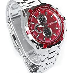 CURREN Sport Water Hours Stainless Quartz Red Dial Clock Men Wrist Watch WV063